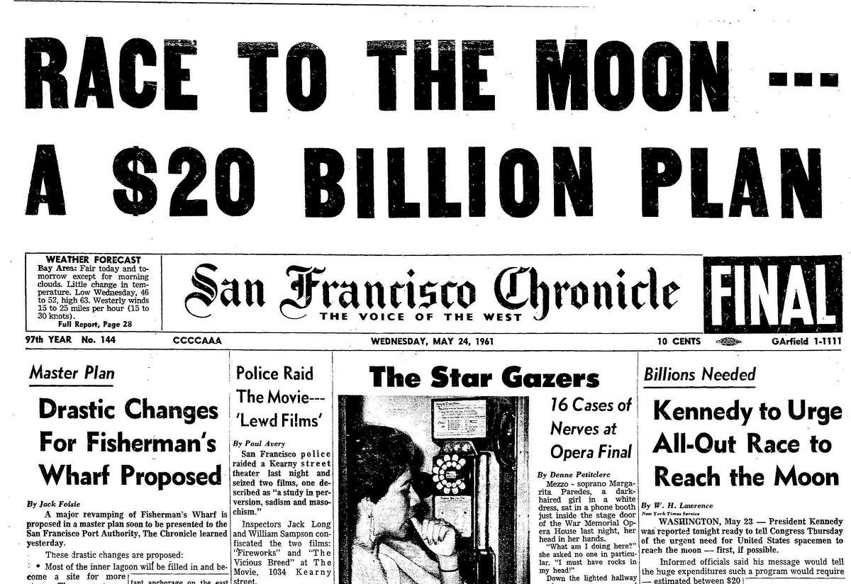 A May 21, 1961 Chronicle front page article on President John Kennedy urging all-out effort in the space race