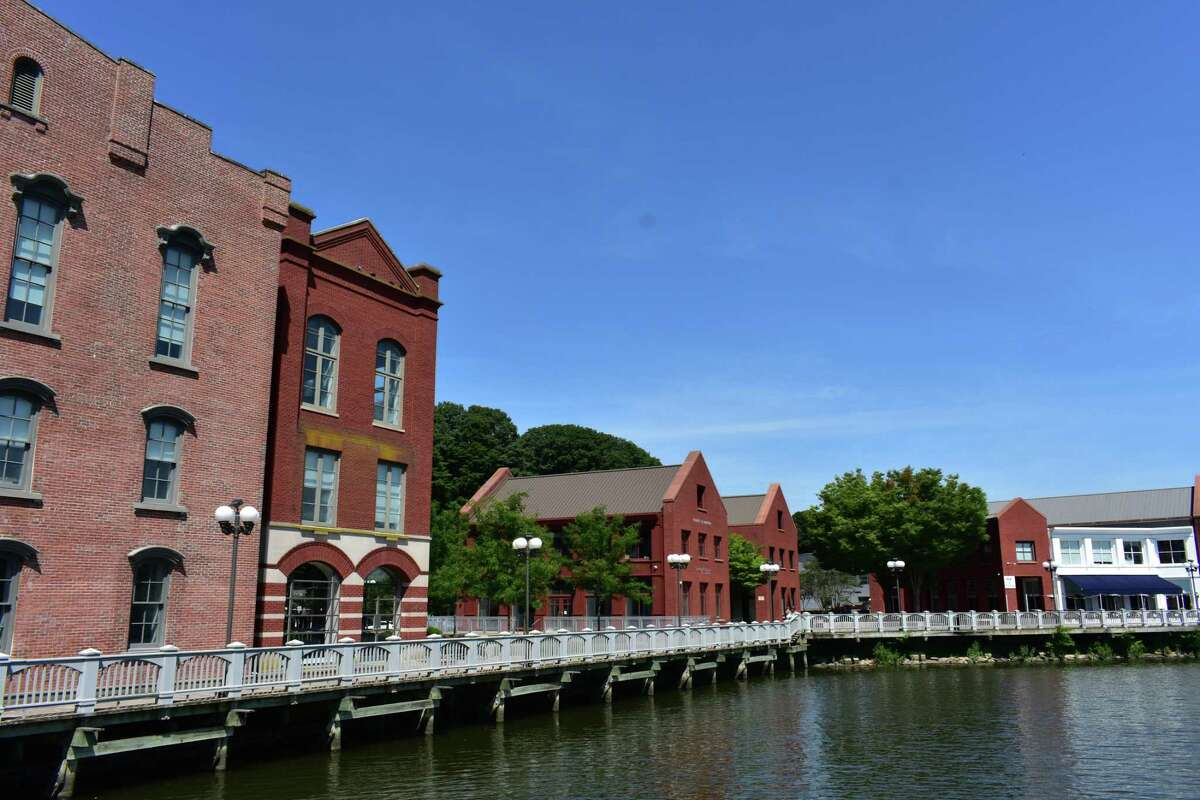 The National Hall complex along the Saugatuck River in Westport, Conn., in July 2019 after its $17.5 million sale by Greenfield Partners.