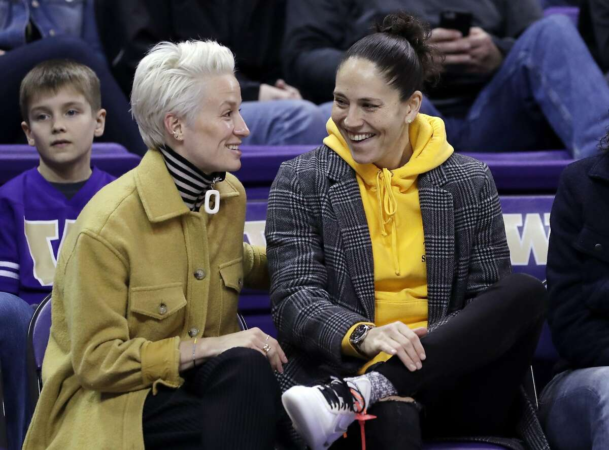 Seattle sports icons Megan Rapinoe (left) and Sue Bird announced Friday on Instagram that they are now engaged.