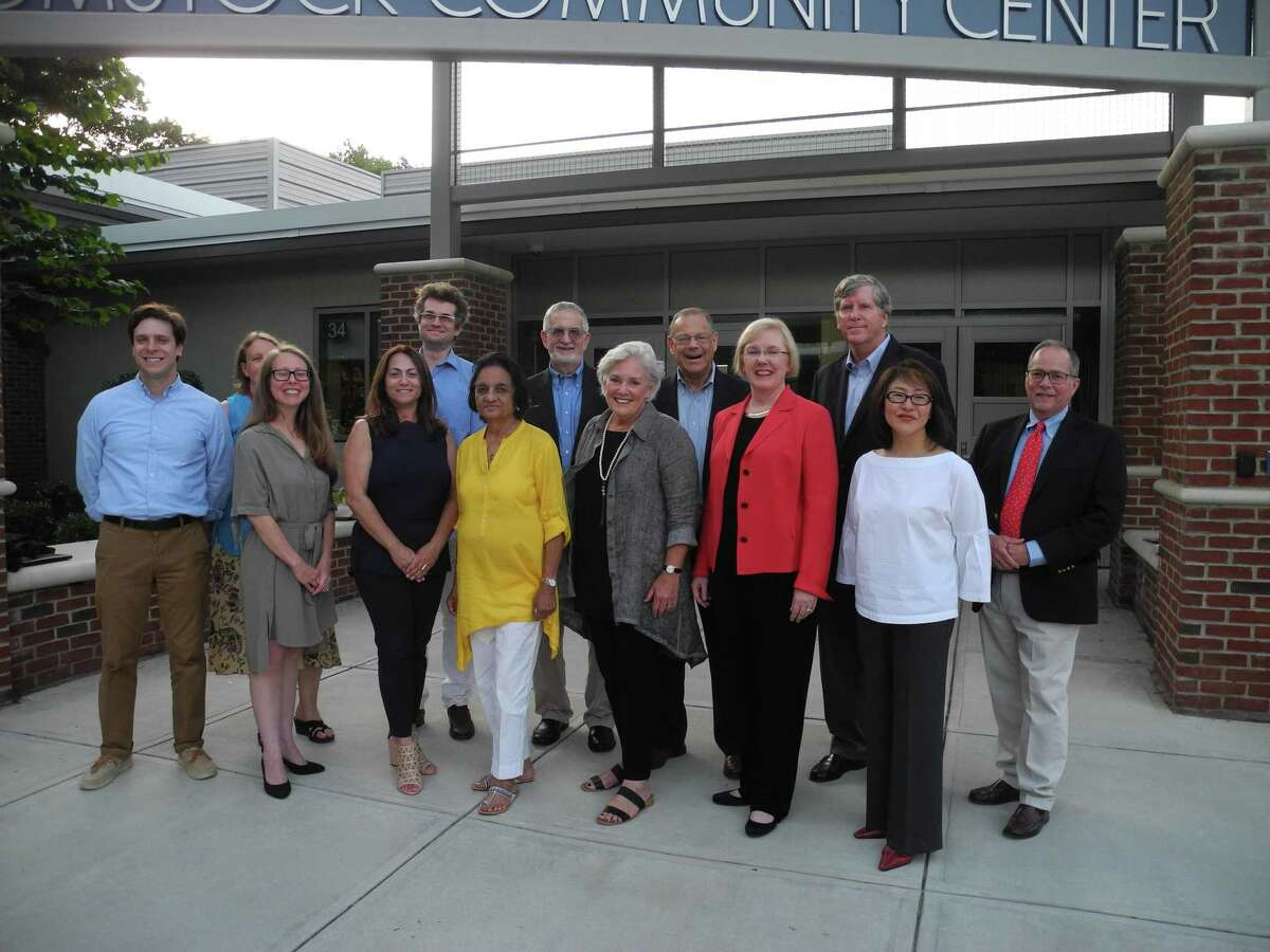 The slate of Democratic candidates for the November 2019 election gathers outside Comstock Community Center.