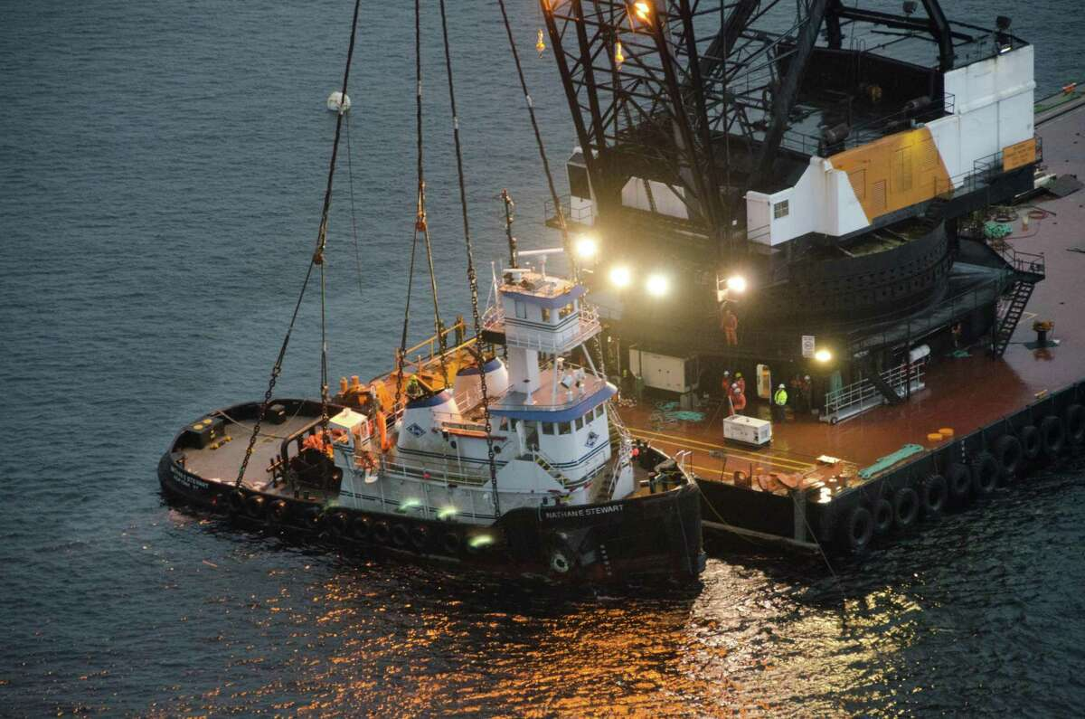 The Nathan E. Stewart, owned by Houston-based Kirby Corp., was removed from the water roughly one month after it ran aground in the Seaforth Channel near Bella Bella, located some 98 nautical miles north of Port Hardy on Vancouver Island.