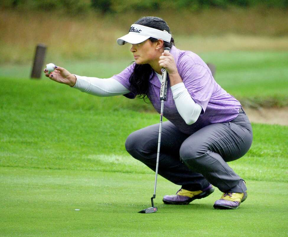 Ballston Spa's Isabella Diaz lines up a putt during the Section II Class A golf championships at McGregor Links Wednesday Oct. 3, 2018 in Wilton, NY. (John Carl D'Annibale/Times Union)