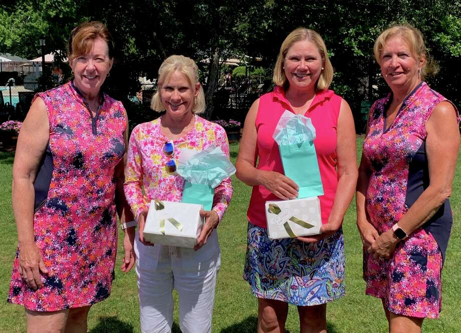 The winners and tournament organizers for the Country Club of Troy Women's Invitational on July 9, 2019: Dawn Niebuhr, left, and Sue Bouchey, far right, co-chairs of the event, are shown with gross winners Mary Scatena, second from left) and Nancy Kroll, both of Pinehaven. Photo: Eric Bloomer