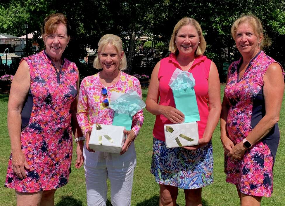 The winners and tournament organizers for the Country Club of Troy Women's Invitational on July 9, 2019: Dawn Niebuhr, left, and Sue Bouchey, far right, co-chairs of the event, are shown with gross winners Mary Scatena, second from left) and Nancy Kroll, both of Pinehaven.
