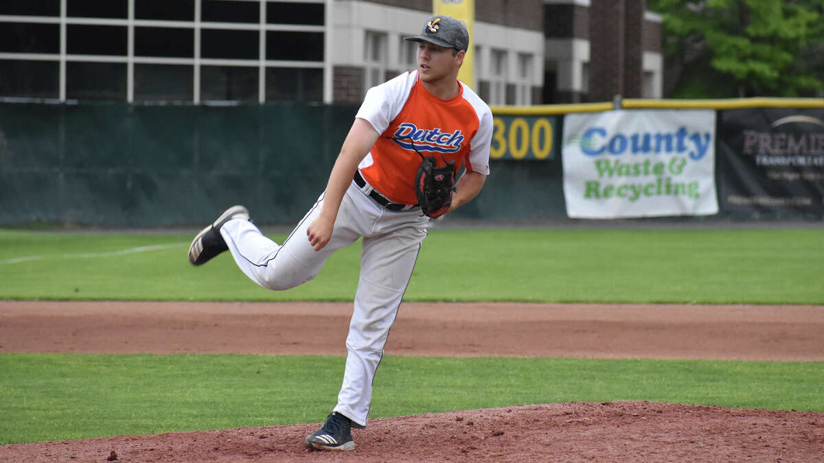 Guilderland High graduate Nick Grabek has a 1.42 earned-run average for the Albany Dutchmen this summer. (Samantha Engelmyer/Albany Dutchmen)