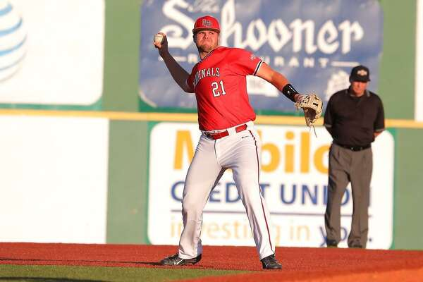 Chad Fleischman makes a throw during a game for the Lamar University baseball team. Photo provided by Lamar athletics.