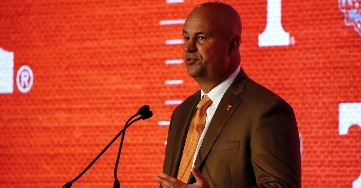 Tennessee head coach Jeremy Pruitt speaks during the NCAA college football Southeastern Conference Media Days, Tuesday, July 16, 2019, in Hoover, Ala. (AP Photo/Butch Dill)