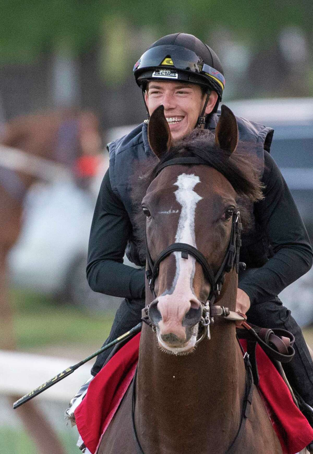 Jockey Tyler Gaffalione is aboard Preakness Stakes winner War of Will as he heads to the main track at the Saratoga Race Course Saturday July 13, 2019 for a speed workout in Saratoga Springs, N.Y. Special to the Times Union by Skip Dickstein