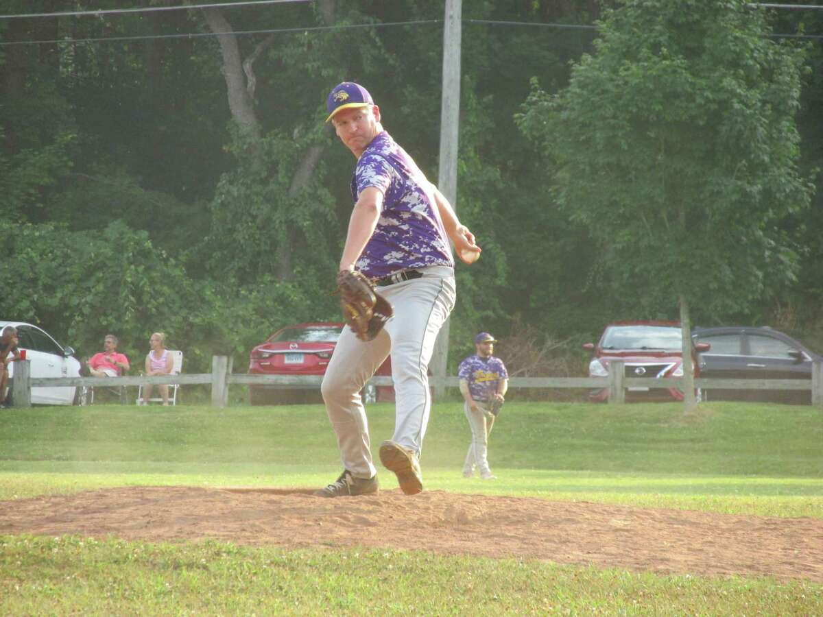Veteran Tri-State pitcher Dan Livingston starred as a fielder as well as a pitcher in a Tri-Town Trojans win over the Wolcott Scrappers in a Tri-State Baseball League game at Community Field Tuesday evening.