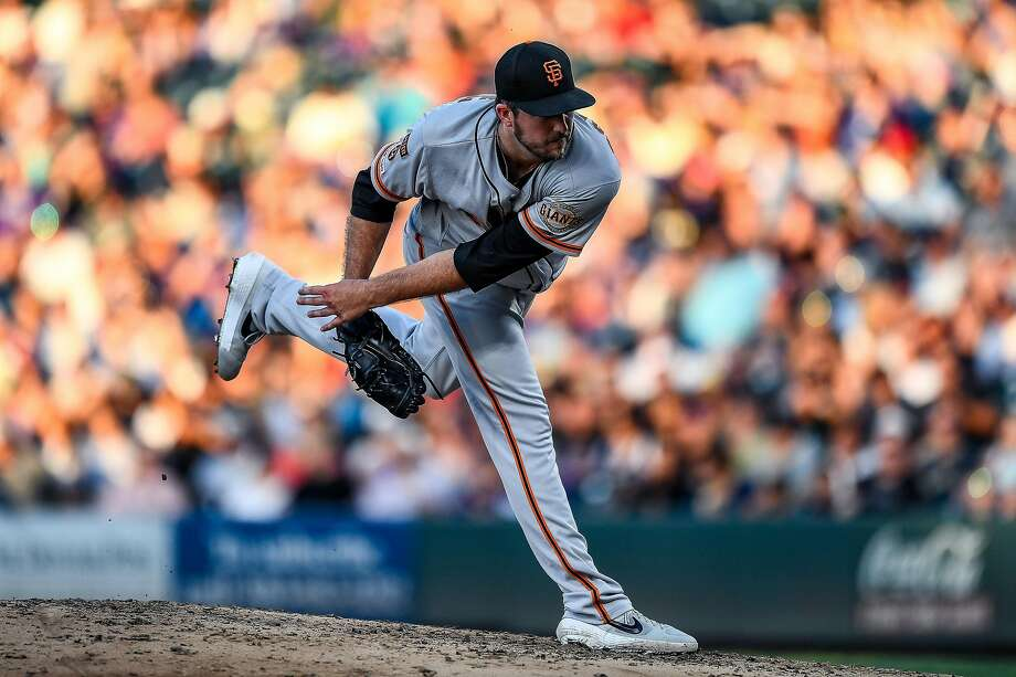 Drew Pomeranz #37 of the San Francisco Giants pitches against the Colorado Rockies at Coors Field on July 16, 2019 in Denver, Colorado. (Photo by Dustin Bradford/Getty Images) Photo: Dustin Bradford / Getty Images
