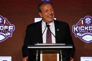 Texas A&M head coach Jimbo Fisher speaks to during the NCAA college football Southeastern Conference Media Days, Tuesday, July 16, 2019, in Hoover, Ala. (AP Photo/Butch Dill)