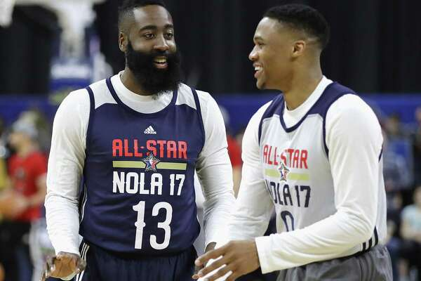 James Harden (13) and Russell Westbrook have previously shared the court as Thunder, Olympic and All-Star teammates.