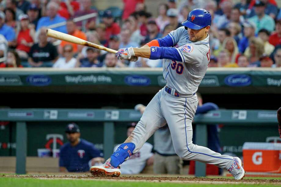 New York Mets' Michael Conforto hits an RBI single against the Minnesota Twins during the fifth inning of a baseball game Tuesday, July 16, 2019, in Minneapolis. (AP Photo/Bruce Kluckhohn) Photo: Bruce Kluckhohn / Copyright 2019 The Associated Press. All rights reserved.