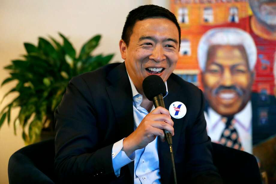 Democratic presidential candidate Andrew Yang makes a campaign visit to Manny's in San Francisco on Tuesday. Photo: Scott Strazzante / The Chronicle