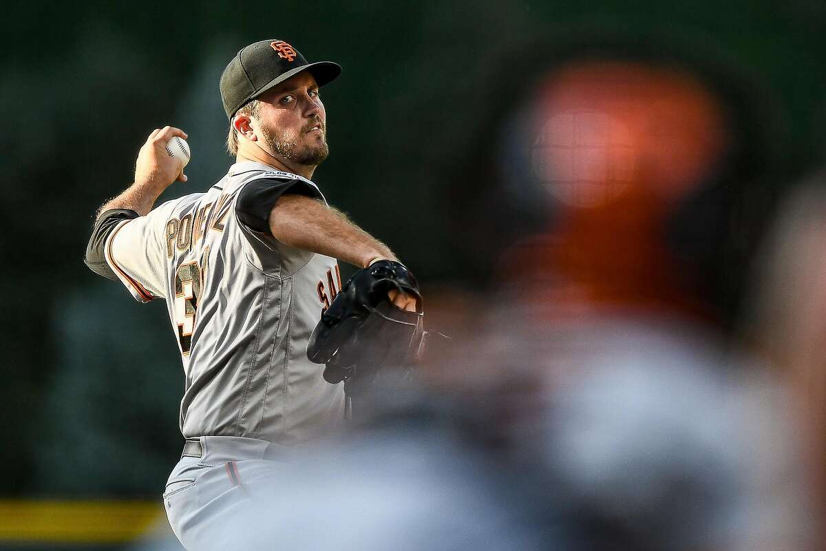 DENVER, CO - JULY 16: Drew Pomeranz #37 of the San Francisco Giants pitches against the Colorado Rockies in the first inning of a game at Coors Field on July 16, 2019 in Denver, Colorado. (Photo by Dustin Bradford/Getty Images)