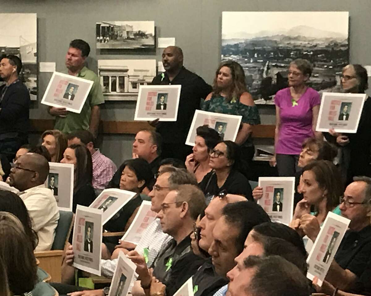 A portion of the crowd that filled the Walnut Creek City Council meeting on July 16 to show support for the family of Miles Hall, 23, who suffered from mental illness and was shot and killed during an encounter with police on June 2, 2019.