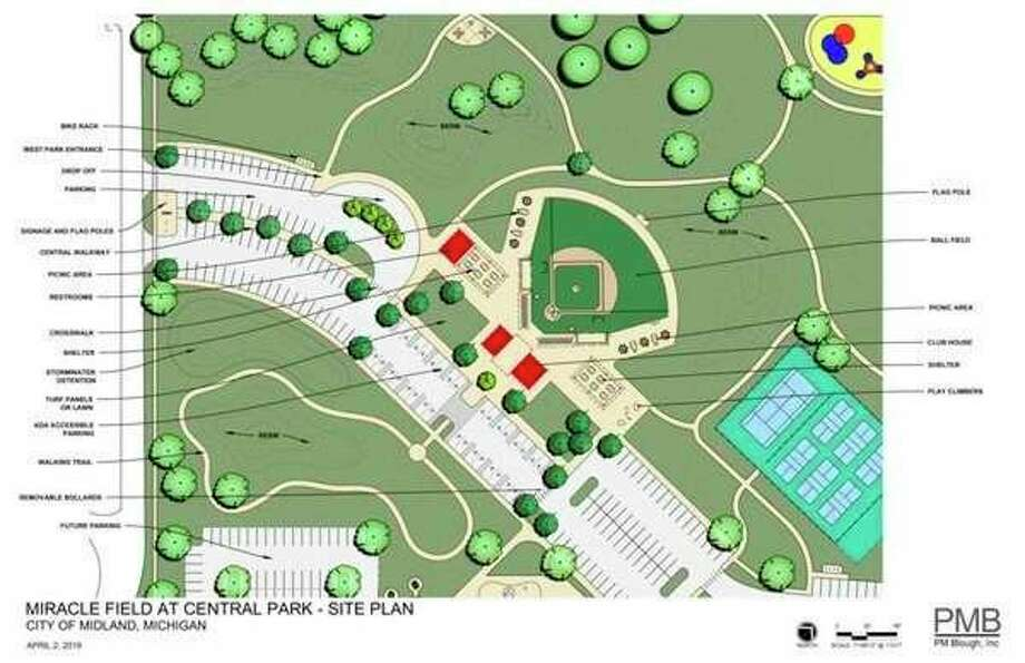 A site plan show the details to be incorporated with the construction of a miracle field in Midland. (Photo provided)