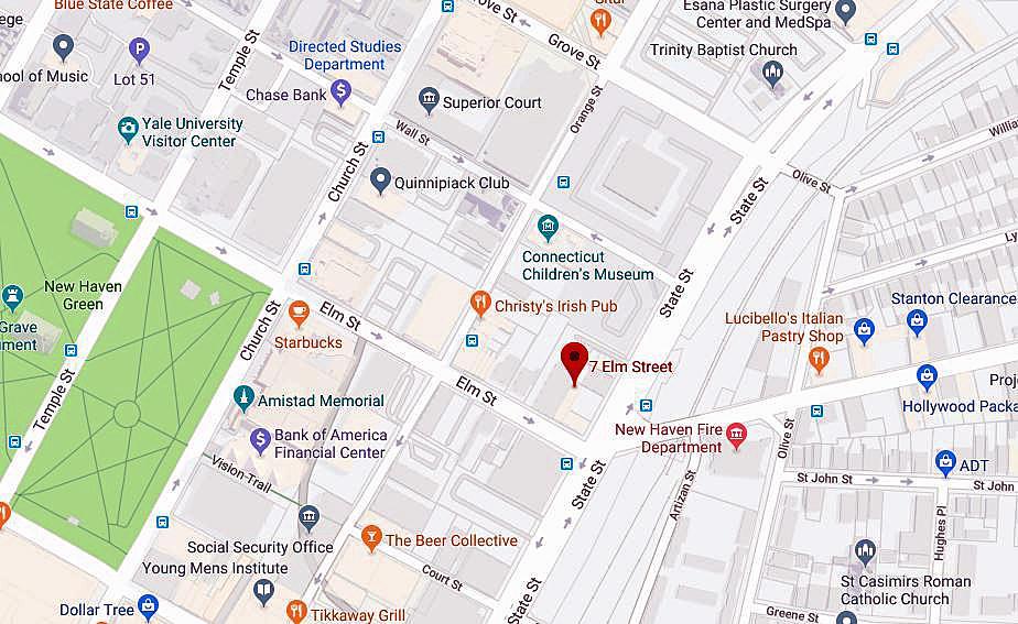 New Haven firefighters battle Elm Street blaze.
