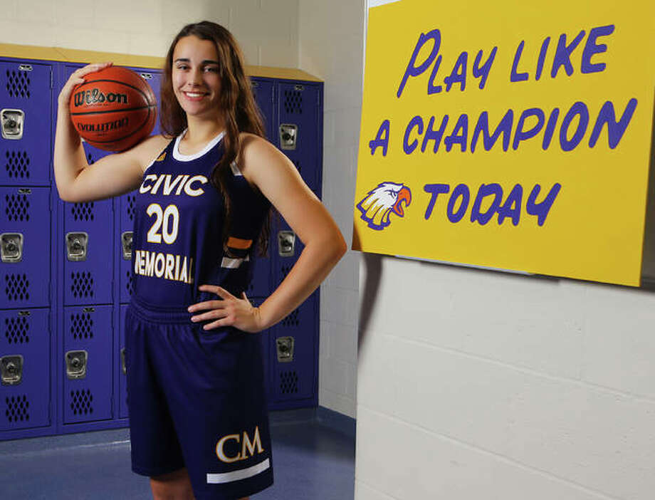 Civic Memorial's Anna Hall is the 2018-19 Telegraph Large-Schools Girls Basketball Player of the Year. Hall finished her junior season averaging 17.4 points and 9.4 rebounds per game for the 29-6 Eagles. Photo: Billy Hurst / For The Telegraph