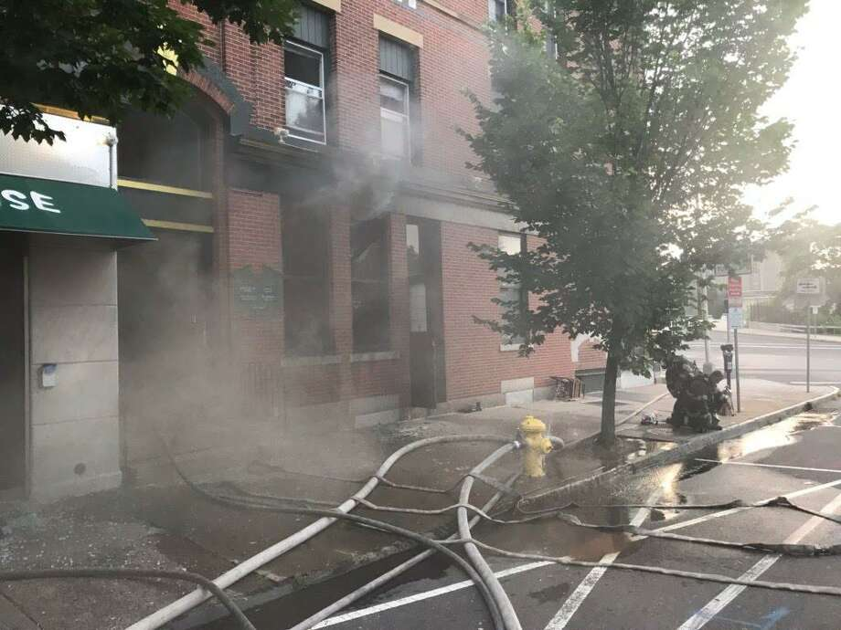 Firefighters extinguished a blaze at the Kumo Sushi Hibachi restaurant on Elm Street Wednesday morning. Photo: CONTRIBUTED PHOTO