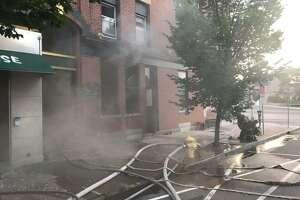 Firefighters extinguished a blaze at theKumo Sushi Hibachi restaurant on Elm Street Wednesday morning.