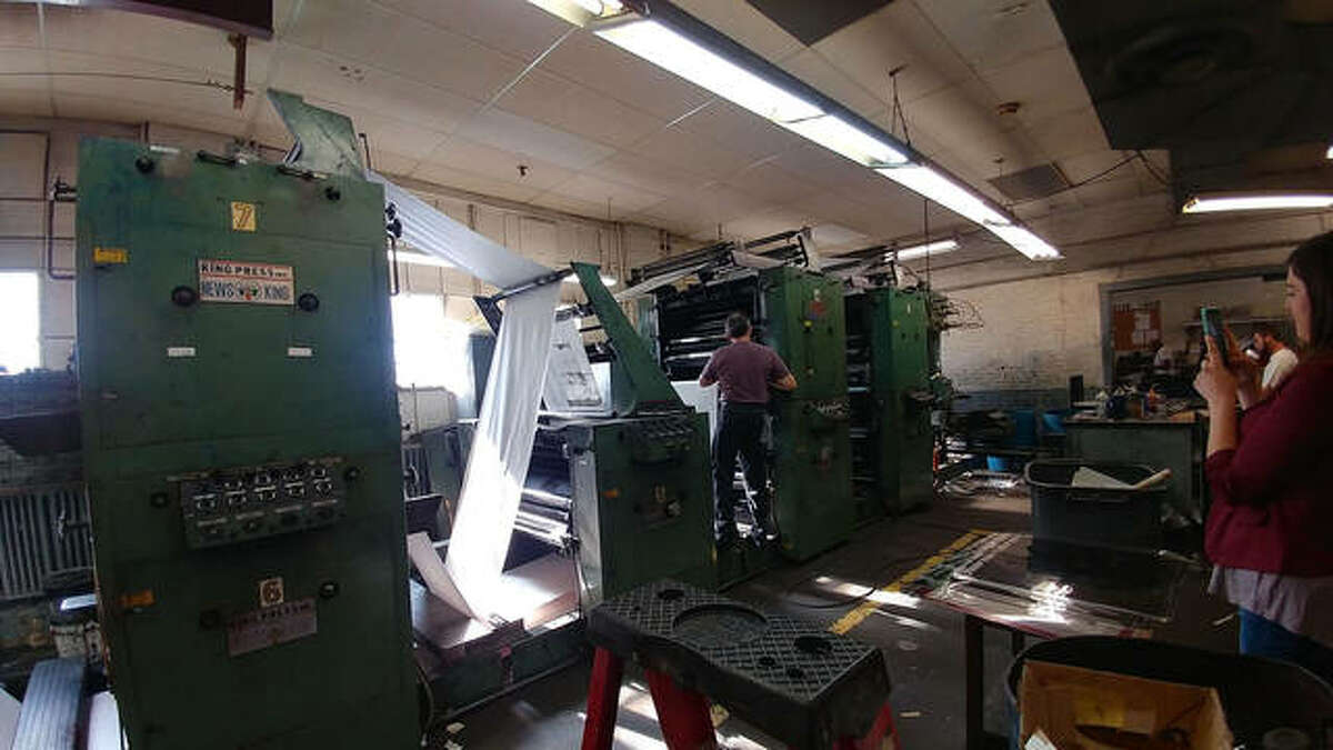 """White said this Intelligencer location had two printing presses, the original one, which dated back to at least the 1920s and was in operation until May 1, 1979, when the """"new"""" press took over and printed newspapers until Oct. 21, 2017."""