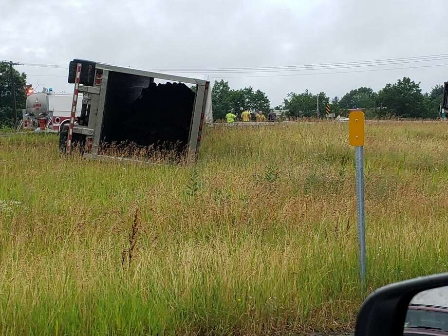 One of the two tractor trailers involved in Wednesday morning's crash near Exit 18. (Josh Trombley / Special to the Times Union) Photo: Provided