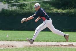 Daniel Bucciero tries to track down a ground ball during a recent Ridgefield American Legion 19U game.