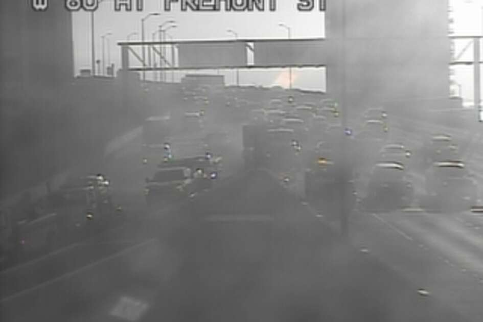 A box truck collided with the barrier at Fremont Street exit of the Bay Bridge on Wednesday morning causing delays.