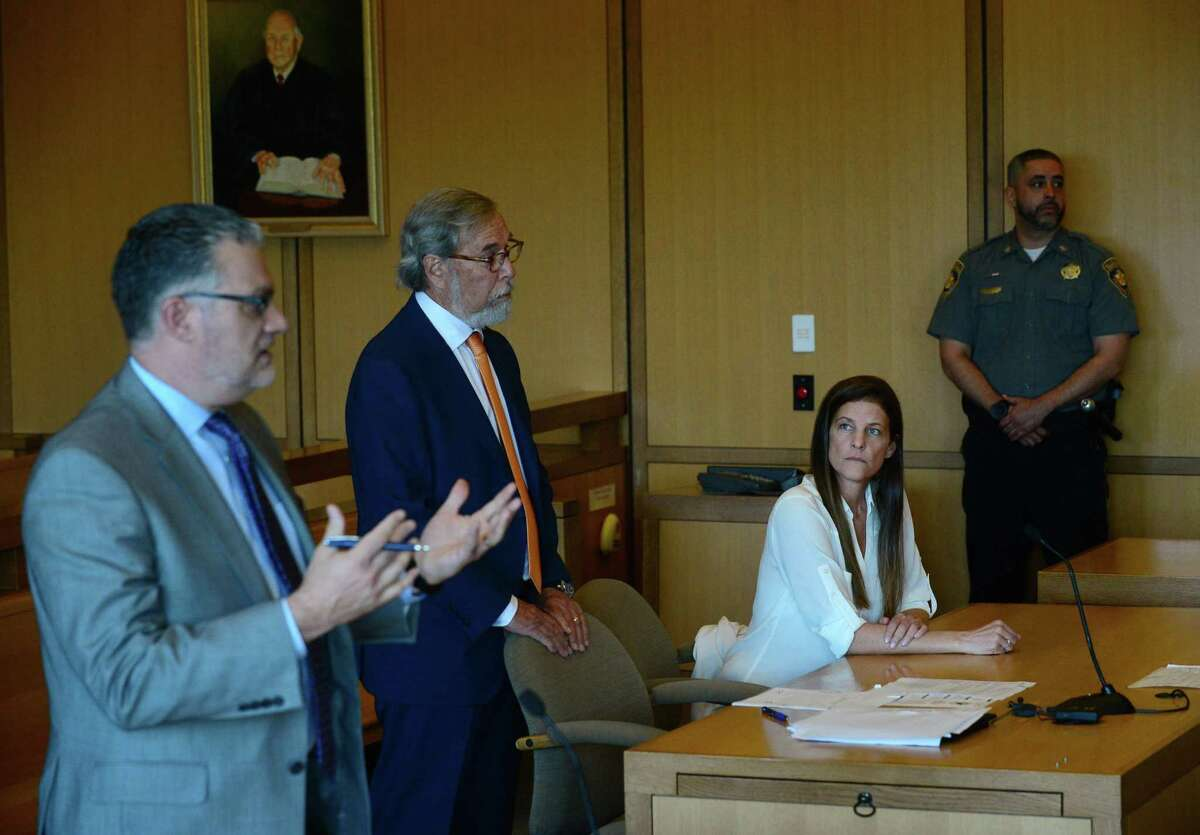 Michelle Troconis attends her hearing on Friday, June 28, 2019, with her attorner Andrew Bowman to address travel concerns following her arrest in the disappearance of Jennifer Dulos, her boyfriends wife, in Stamford Superior Court in Stamford, Conn.