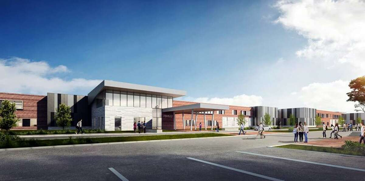 An architect's rendering shows the main entrance to Fort Bend ISD's twelfth high school to be built on an 80-acre plot in Rosharon. With a project budget totaling $180,973,879, district officials say the new 485,000-square-foot school is expected to open by August 2022. Last December, the Houston-based architectural firm DLR Group was hired to prepare designs and project specifications for construction of the new high school as a LEED certified school. Image: Fort Bend ISD agenda documents