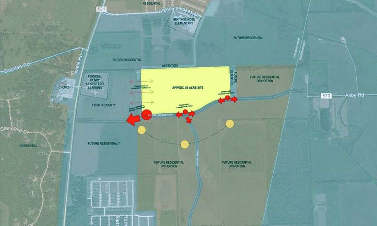Fort Bend ISD's new high school campus complex is being built in Rosharon, near the Ferndell Henry Center for Learning and Heritage Rose Elementary School, east of FM 521. Image: Fort Bend ISD agenda documents