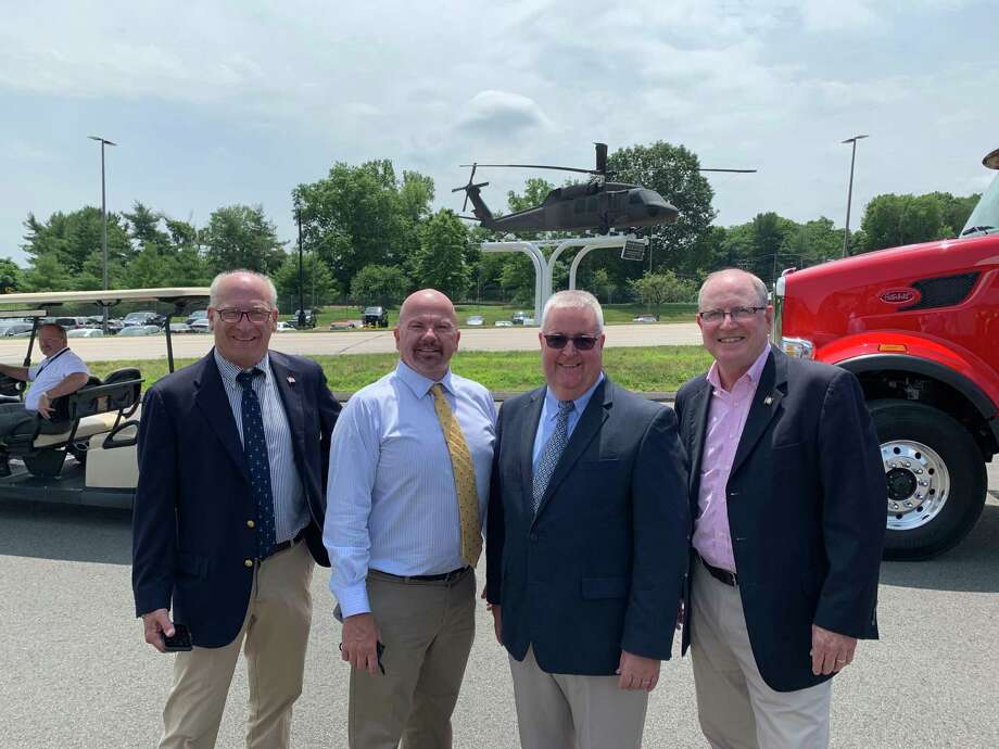 Members of the Stratford legislative delegation attended the groundbreaking of the Route 110 realignment project, a collaboration with Sikorsky, on July 8, 2019. Pictured from left to right, Rep. Phil Young, Rep. Joe Gresko, Rep. Ben McGorty and Sen. Kevin Kelly. Photo: Contributed Photo / Connecticut Post