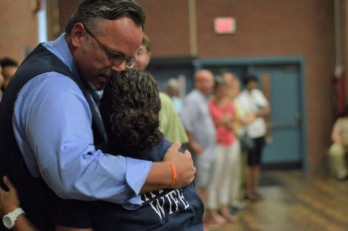 Mayor Curt B. Leng with his wife Stephanie after he received his endorsement from the Hamden Democratic Town Committee at the nominating convention Tuesday July 16, 2019