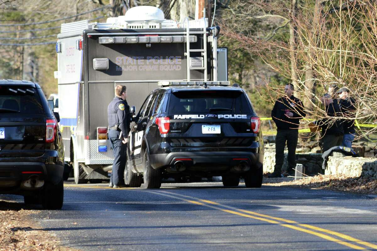The scene looking down Catamount Road in Fairfield on Feb. 4. James Tayloris accused of shooting his ex-wife, Catherine, 70, to death inside her home.