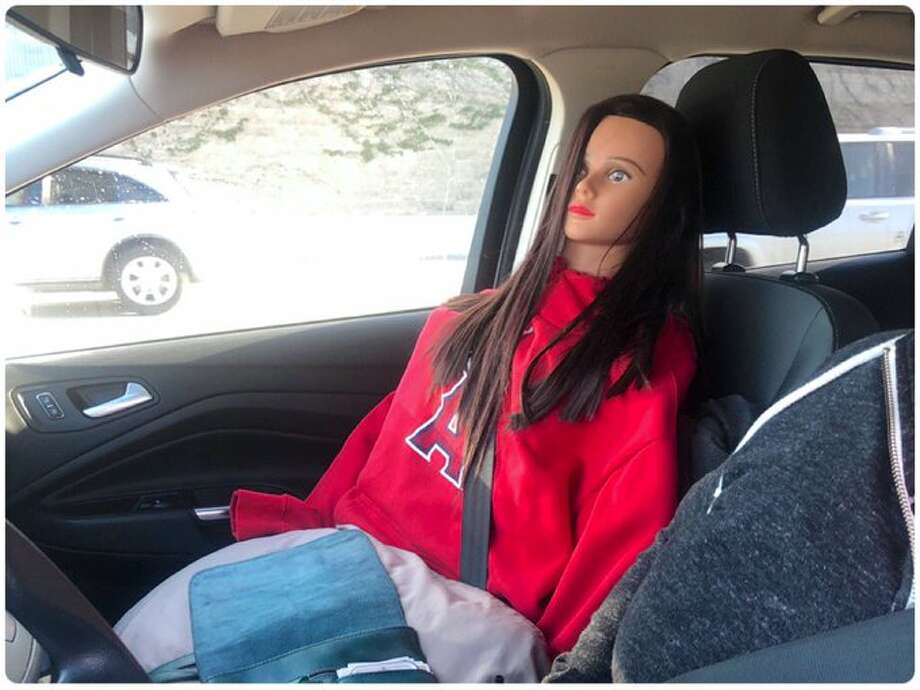 The California Highway Patrol in Contra Costa County caught a motorist driving illegally in the carpool lane with a dummy in the front seat. Photo: CHP -- Contra Costa County