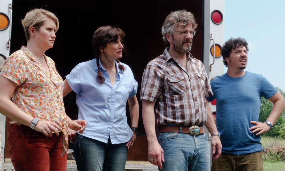 """From left, Jillian Bell, Michaela Watkins, Marc Maron and Jon Bass in """"Sword of Trust."""" Photo: IFC Films / IFC Films"""