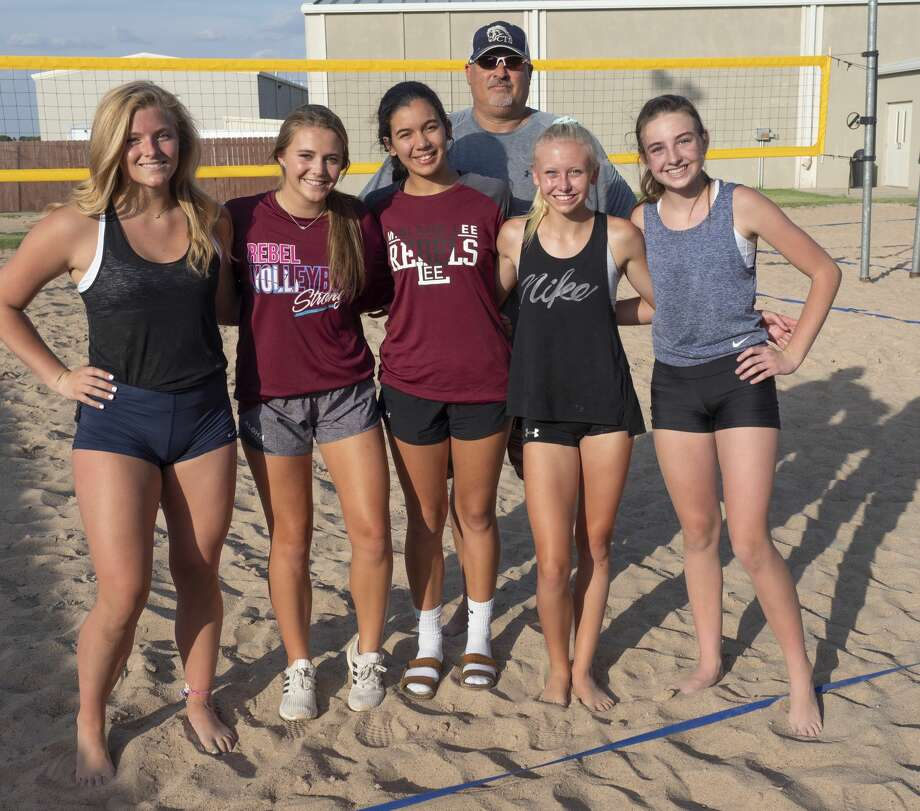 Local athletes who qualified to play in the beach volleyball nationals in California; Emily Hillman, teammates Morgan Ironside and Yali Flores, teammates Rayah Coy and Kendall Harrington and their coach James Barker. 07/16/19 Tim Fischer/Reporter-Telegram Photo: Tim Fischer/Midland Reporter-Telegram