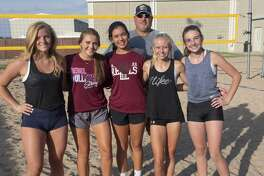 Local athletes who qualified to play in the beach volleyball nationals in California; Emily Hillman, teammates Morgan Ironside and Yali Flores, teammates Rayah Coy and Kendall Harrington and their coach James Barker. 07/16/19 Tim Fischer/Reporter-Telegram