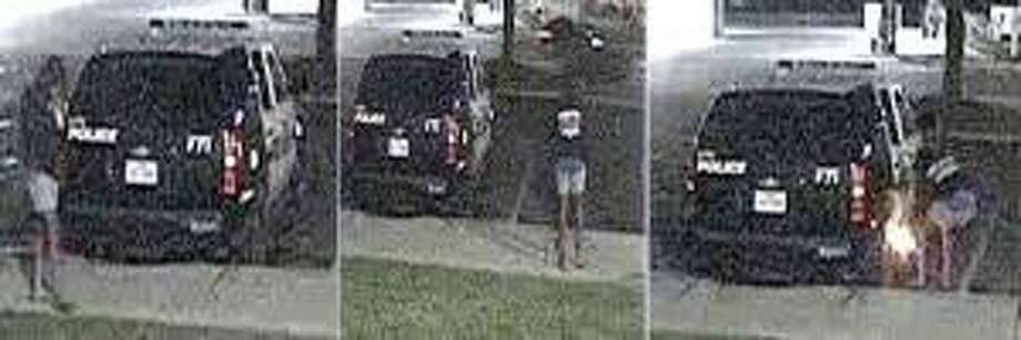 Crime Stoppers and police need help to identify a person they say attempted to set a patrol car on fire July 5 in the city's Eastside. Photo: Crime Stoppers