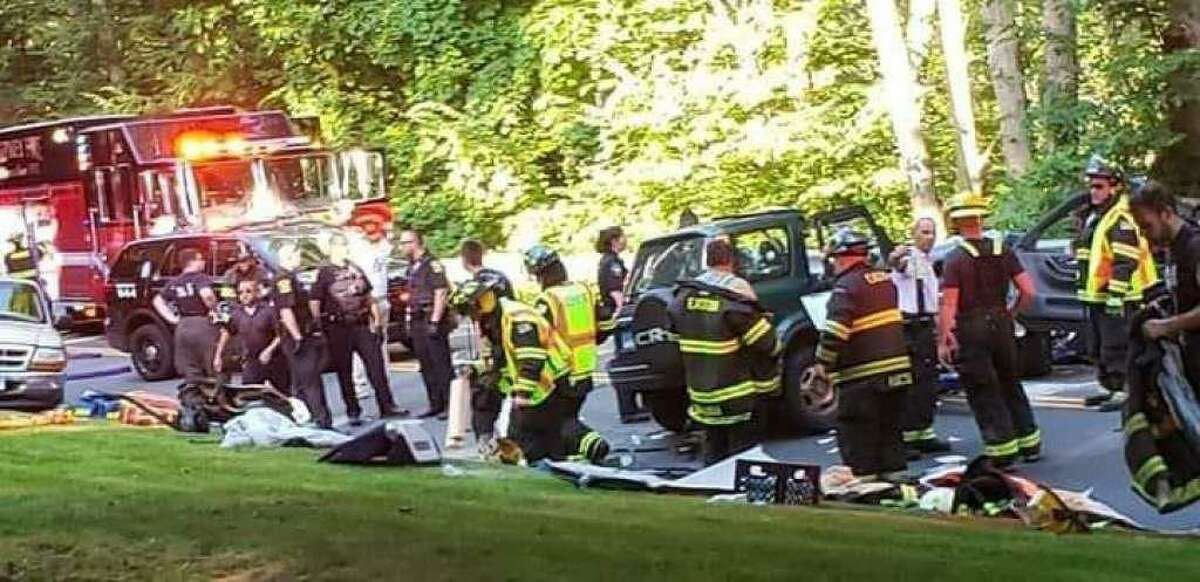 First responders at the scene of Sunday's crash on Route 59 in Easton on July 14, 2019.