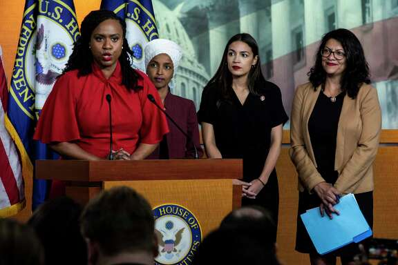 Democratic Reps. Ayanna Pressley, Ilhan Omar, Alexandria Ocasio-Cortez and Rashida Tlaib respond at a news conference to President Donald Trump's recent tweets telling them to leave the U.S. A reader wonders if all Republicans back Trump's offensive comments simply based on political leanings and not morals.