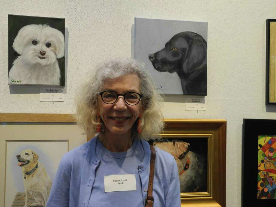 Susan Kurnit enjoys painting dogs and entered two portraits in the Summer Show at Wilton Library. Photo: Jeannette Ross / Hearst Connecticut Media / Wilton Bulletin