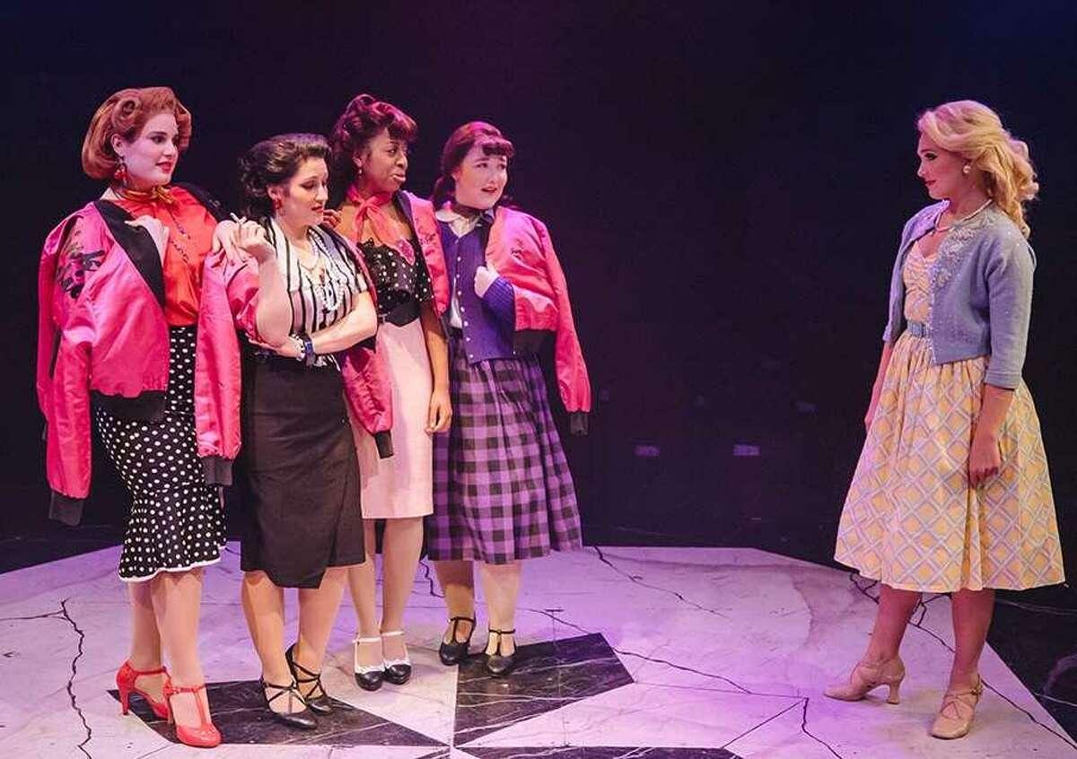 "The ""Pink Ladies"" (From left to right: Elizabeth D'Aiuto, Angie Colonna, Maya Cuevas, Zoey Bright, Emma Flynn) ""Grease,"" The Mac-Haydn Theatre, Photo credit: Ann Kielbasa."