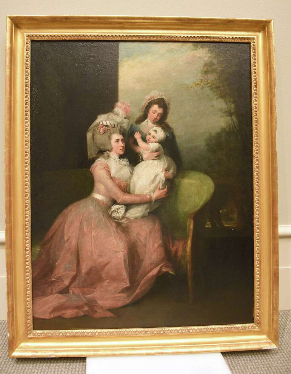 Portrait of Angelica Schuyler Church with her child and servant by John Trumbull, 1784, oil on canvas, private collection at The Schuyler Sisters and Their Circle exhibit at Albany Institute of History and Art on Friday, July 12, 2019 in Albany, N.Y. (Lori Van Buren/Times Union)