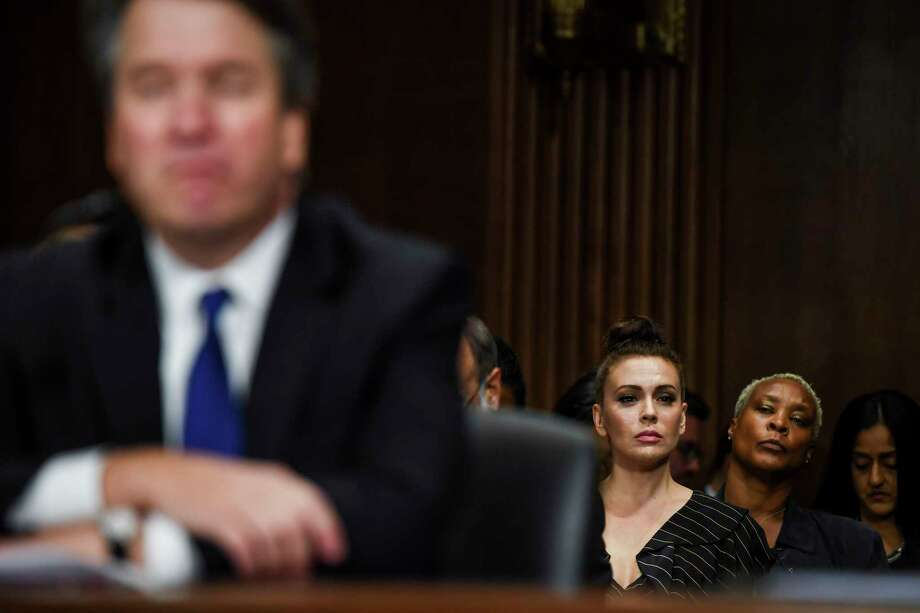 Alyssa Milano watches a Senate Judiciary Committee hearing with Supreme Court nominee Brett Kavanaugh on Sept. 27, 2018. Photo: Washington Post Photo By Matt McClain (Post). / The Washington Post