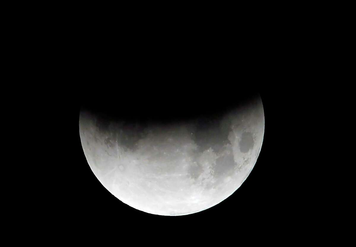 This is what the moon looked like in July 2019 during a partial eclipse.