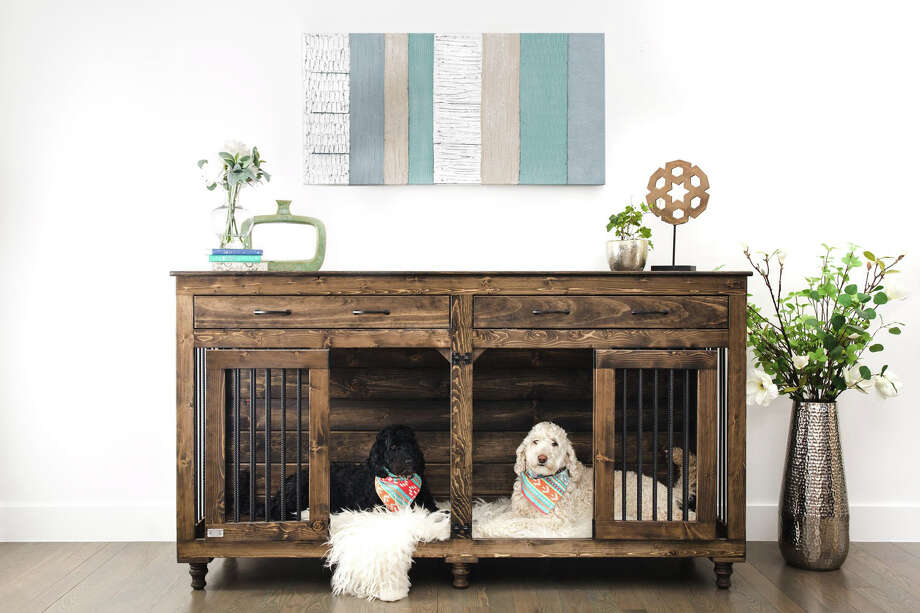 B&B Kustom Kennels' Double Doggie Den (from $1,149) is designed for a two-dog family and is crafted to look like a stylish piece of furniture. Photo: B&B Kustom Kennels / The Washington Post