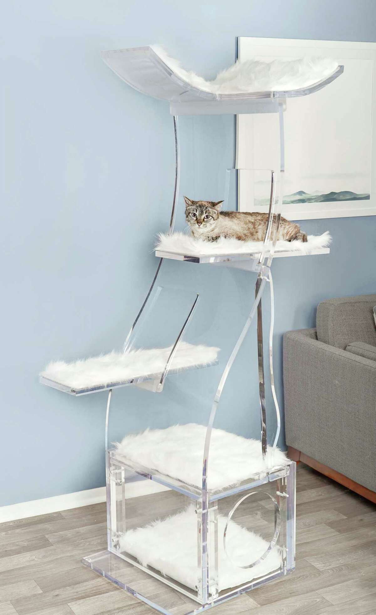 Refined Feline's Crystal Clear Lotus Cat Tower ($5,000). The brand also sells a wood version for $369.99.