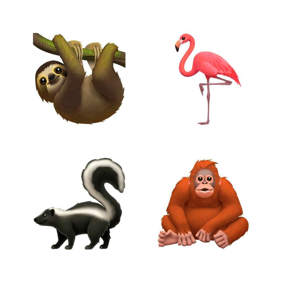 This image provided by Apple shows new emoji's released by Apple.  Both Apple and Google are rolling out dozens of new emojis that, as usual, included cute crittters, but also ones that expand the boundaries of inclusion. The announcement coincides with Wednesday, July 17, 2019 World Emoji Day.(Apple via AP) Photo: Associated Press / Apple